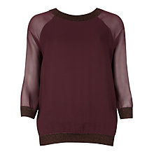 Buy Ted Baker Lluna Metallic Knit Trim Top, Purple Online at johnlewis.com