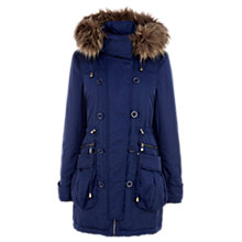 Buy Warehouse Faux Fur Hood Parka, Navy Online at johnlewis.com