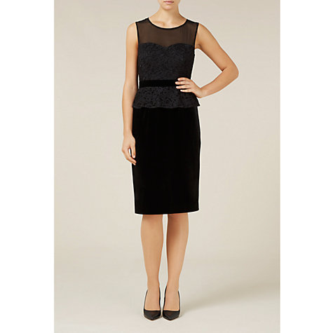 Buy Alexon Velvet Lace Peplum Dress, Black Online at johnlewis.com
