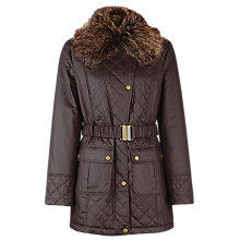 Buy Kaliko Faux Fur Collar Jacket, Brown Online at johnlewis.com