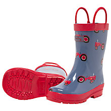 Buy Hatley Farm Tractor Wellington Boots, Blue/Red Online at johnlewis.com