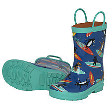 Buy Hatley Surfing Dogs Wellington Boots, Blue/Aqua Online at johnlewis.com