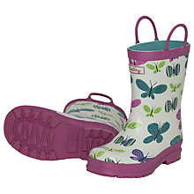 Buy Hatley Butterfly Wellington Boots, Cream/Purple Online at johnlewis.com