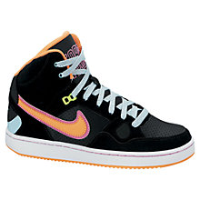 Buy Nike Son Of Force Mid Trainers, Black/Orange Online at johnlewis.com