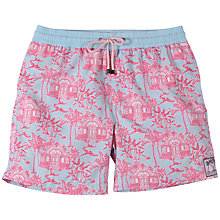 Buy Pink House Mustique Toile Print Swim Shorts, Pink/Blue Online at johnlewis.com