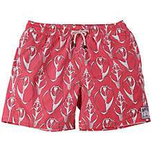 Buy Pink House Mustique Shell Print Swim Shorts, Red/White Online at johnlewis.com