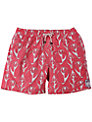 Pink House Mustique Shell Print Swim Shorts, Red/White