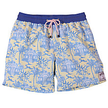 Buy Pink House Mustique Toile Print Swim Shorts, Yellow/Blue Online at johnlewis.com