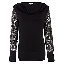 Buy Kaliko Lace Sleeved Jumper, Black Online at johnlewis.com