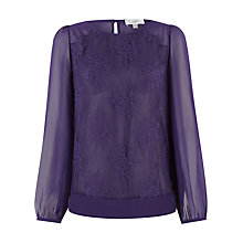 Buy Kaliko Lace Front Blouse, Purple Online at johnlewis.com