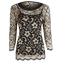 Buy Kaliko Two Tone Lace Top, Black Online at johnlewis.com