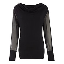 Buy Kaliko Chiffon Sleeved Jumper, Black Online at johnlewis.com