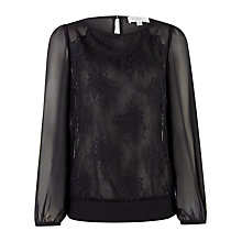 Buy Kaliko Lace Front Blouse, Black Online at johnlewis.com