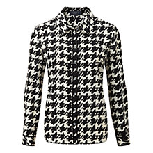 Buy Viyella Petite Dogtooth Blouse, Black Online at johnlewis.com