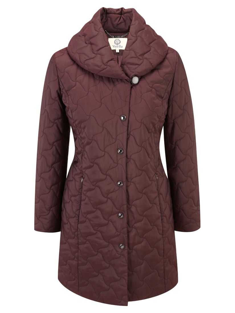 Viyella Wrap Neck Quilted Coat, Purple