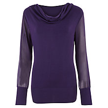 Buy Kaliko Chiffon Sleeve Jumper, Purple Online at johnlewis.com
