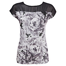 Buy Kaliko Large Rose Fabric Block Top, Black Online at johnlewis.com