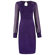 Buy Kaliko Knitted Chiffon Sleeve Dress, Purple Online at johnlewis.com