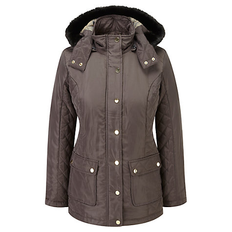 Buy Viyella Quilted Hooded Parker, Brown Online at johnlewis.com