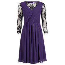 Buy Kaliko Lace Sleeve Pleat Dress, Purple Online at johnlewis.com