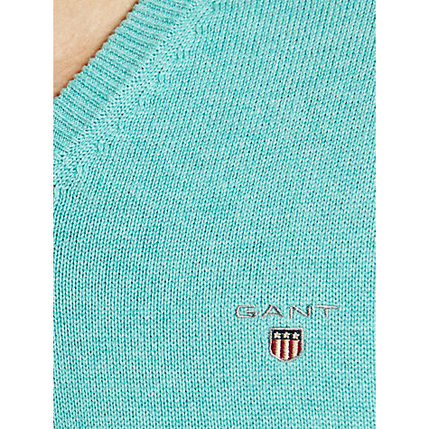 Buy Gant Solid Cotton V-Neck Jumper, Aqua Online at johnlewis.com