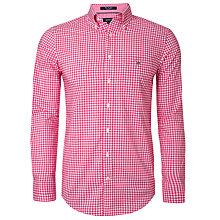 Buy Gant Gingham Button Down Collar Shirt, Flamingo Pink Online at johnlewis.com