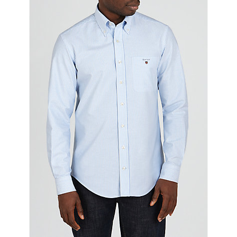Buy Gant Oxford Stripe Banker Shirt, Blue Online at johnlewis.com