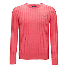 Buy Gant Cotton Cable Knit Jumper, Red Melange Online at johnlewis.com