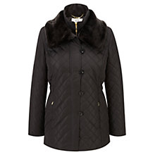 Buy Viyella Faux Fur Trimmed Coat, Black Online at johnlewis.com
