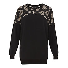 Buy Miss Selfridge Lace Yoke Jumper, Black Online at johnlewis.com