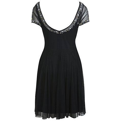 Buy Miss Selfridge Embellished Skater Dress, Black Online at johnlewis.com