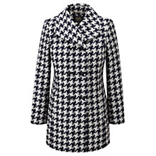 Buy Viyella Houndstooth Double Breasted Car Coat, Blue Online at johnlewis.com