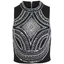 Buy Miss Selfridge Embellished Cropped Top, Black Online at johnlewis.com