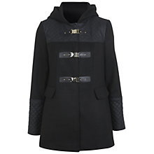 Buy Miss Selfridge Faux Leather Trim Duffle Coat, Black Online at johnlewis.com