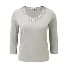 Buy Viyella Velvet Trim Top, Grey Online at johnlewis.com