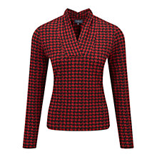 Buy Viyella Petite Dogtooth Print Jersey Top, Red Online at johnlewis.com