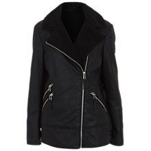 Buy Miss Selfridge Faux Leather Lined Biker Jacket, Black Online at johnlewis.com