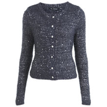 Buy Miss Selfridge Shorty Fluffy Cardigan, Pale Blue Online at johnlewis.com