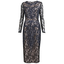 Buy Miss Selfridge Lace Sequin Mid Pencil Dress, Navy Online at johnlewis.com