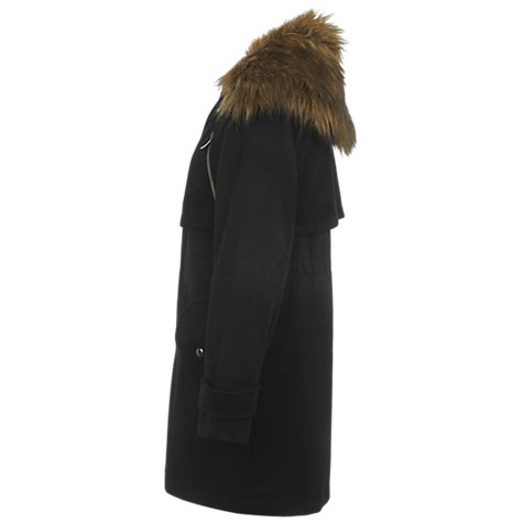 Buy Miss Selfridge Faux Fur Collar Smart Parka, Black Online at johnlewis.com
