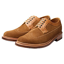 Buy Grenson Sid Long Wing Stormwelt Suede Brogue Derby Shoes, Brown Online at johnlewis.com
