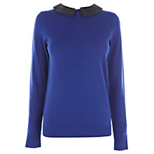 Buy Oasis Faux Leather Collar Jumper, Blue Online at johnlewis.com