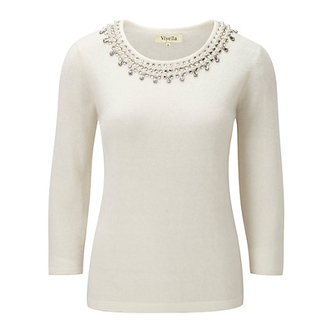 Buy Viyella Embellished Jumper, Ivory Online at johnlewis.com