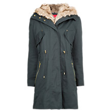 Buy Mango Faux Fur Parka, Green Online at johnlewis.com