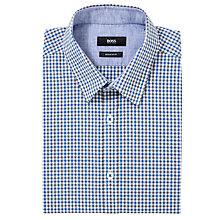 Buy Boss Black Luca Check Short Sleeve Shirt, Blue Online at johnlewis.com