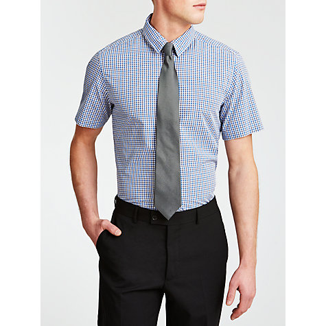 Buy BOSS Luca Check Short Sleeve Shirt, Blue Online at johnlewis.com