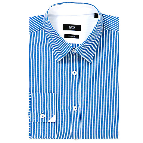 Buy BOSS Obert Long Sleeve Shirt, Blue/White Online at johnlewis.com