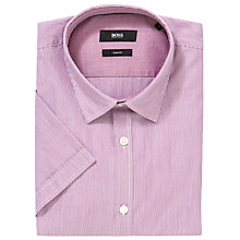 Buy Boss Black Marco Striped Short Sleeve Shirt, Raspberry Online at johnlewis.com