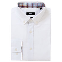 Buy BOSS Sven Button Down Oxford Long Sleeve Shirt, White Online at johnlewis.com