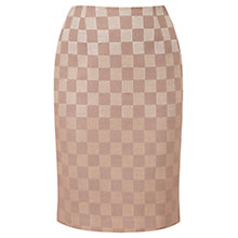 Buy Viyella Check Embroidered Pencil Skirt, Taupe Online at johnlewis.com